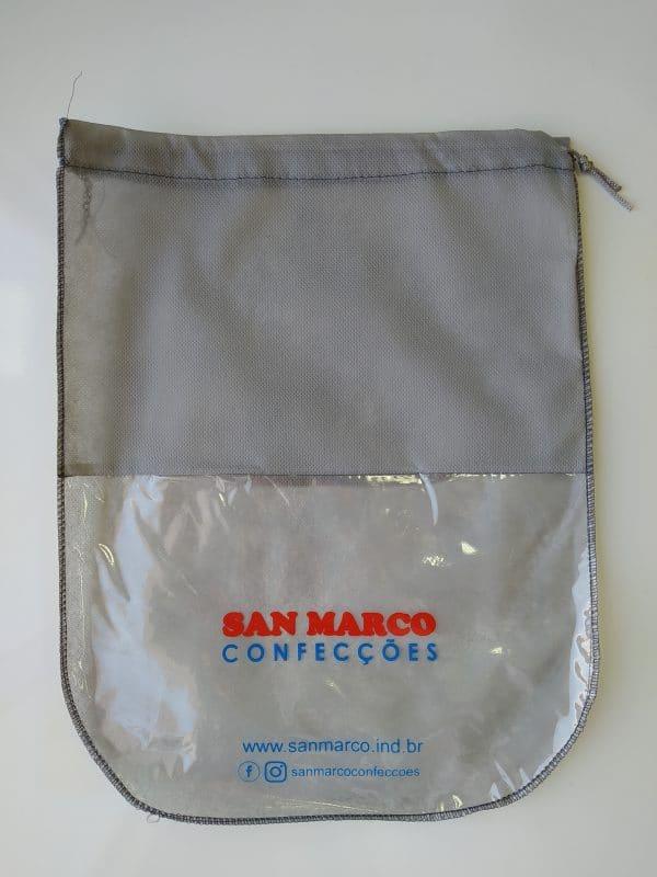 saco de sapato tnt cinza personalizado